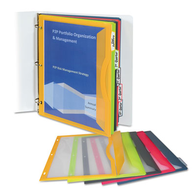 binder pocket with write on index tabs 9 11 16 x 11 3 16 assorted
